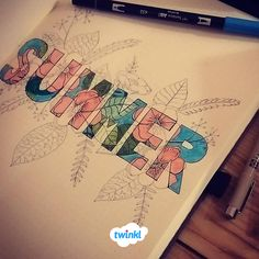We love this unique bullet journal idea. The word Summer pops out from the lovely floral design. Find more inspiration over at Twinkl. Bullet Journal 2020, Bullet Journal Layout, Bullet Journal Inspiration, Bullet Journal Teacher, Colour Pop, Journal Covers, Journal Pages, Diary Cover Design, Art Magazin