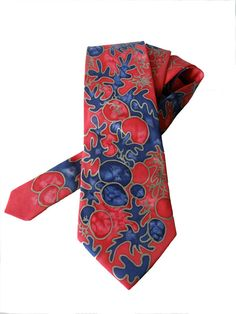 Gift for MEN hand painted necktie Royal Blue and by MagicBrushes, $60.00