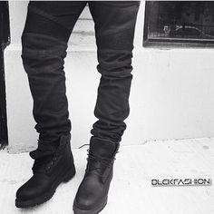 Black Balmains jeans/Black Timberland boots