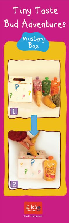 This TTBA helps to associate touch and recognigition with yummy foods!   Step 1) You will need 2 to 4 boxes, and a mix of 2 to 4 veggies or fruits. Note! If you are using a banana, make sure it's really ripe so it smells super bananay for your baby! Step 2) Place 1 fruit or veggie in each box  Step 3) Have little one touch and then taste each box's fruit and veggie