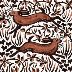"Image detail for -Nat Morley ""Bramble Hares, 2001 (woodcut) """