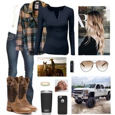 A fashion look from December 2017 by wildasthewest featuring Doublju, 1921, Justin Boots, Kate Spade, STELLA McCARTNEY, Bobbi Brown Cosmetics and Carhartt