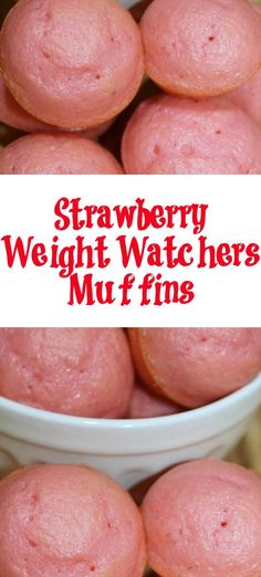 These Strawberry Weight Watchers Muffins are perfect to make for a light treat! With the three ingredients, they are easy and only 2 Smartpoints for WW! #ww #smartpoints #weightwatchers