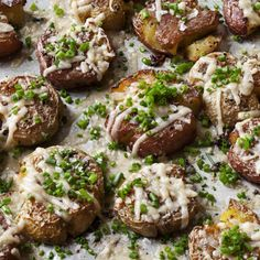 Parmesan Chive Smashed Potatoes - Barefoot Contessa Parmesan Potatoes, Vegetable Side Dishes, Vegetable Recipes, Barefoot Contessa, Potato Recipes, Chives Recipes, Side Dish Recipes, Dinner Recipes, Food Network Recipes