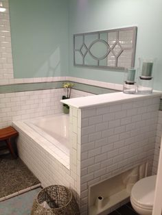Our Finished Tub Drop In Cast Iron White Koehler Soaking Mirror Was From Homegoods And Wall Color Is Olympic Sea Sprite Satin Paint