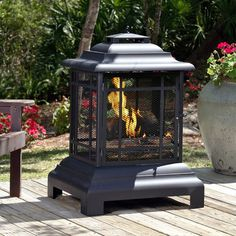Features:  -Fire tool included.  -Pagoda patio fireplace.  -Unique decorative…