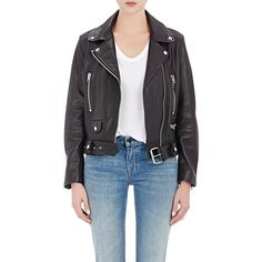 Acne Studios Lambskin Moto Jacket (76,535 PHP) ❤ liked on Polyvore featuring outerwear, jackets, black, lambskin leather jacket, motorcycle jacket, acne studios, black moto jacket and black jacket
