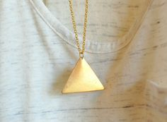 gold triangle necklace  geometric jewelry  by theswanlake on Etsy, $16.00