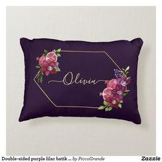Double-sided purple lilac batik style and custom accent pillow Purple Accents, Purple Lilac, Green And Purple, Pink, Soft Pillows, Accent Pillows, Personalized Buttons, Batik Pattern, Pillows Online