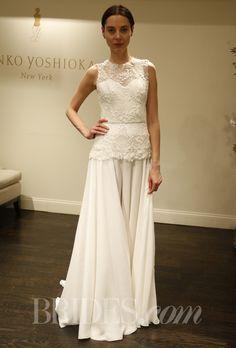 "Brides.com: Junko Yoshioka - Spring 2014. ""Macaroon"" A-line wedding dress with lace illusion neckline, sweetheart bodice, and peplum, Junko Yoshioka"