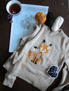 embroidered fox on sweater, so cute!