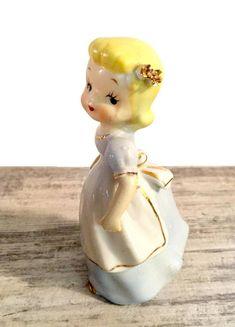 Adorable Vintage Figurine Blonde Girl Blue Dress White Apron