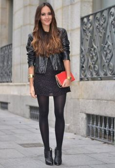 Discover and organize outfit ideas for your clothes. Decide your daily outfit with your wardrobe clothes, and discover the most inspiring personal style Winter Fashion Outfits, Fall Outfits, Autumn Fashion, Casual Outfits, Cute Outfits, Fashion Tights, Tights Outfit, Facon, Wearing Black