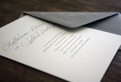 Nothing more perfect than a simple letterpress invitation. I hate those monstrosities with bows, ribbons, glitter, etc.