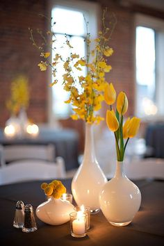 Oncidium orchids, tulips, and billy balls