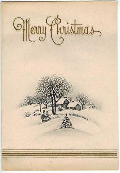 Vintage Christmas Card Victorian couple walking in snowy village Art Deco era