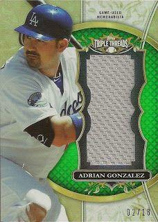 Dodgers Blue Heaven: 2013 Topps Triple Threads Baseball - Dodgers Unity Relic Cards Adrian Gonzalez
