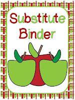 Classroom Freebies: Editable Substitute Binder