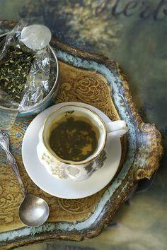 Loose Leaf Tea Time  on a Pretty Florentine tray