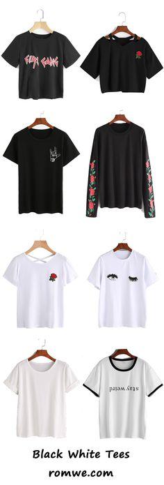black & white t shirts - romwe.com