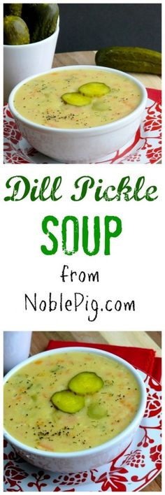 Dill Pickle Soup from NoblePig com Join the masses who have fallen in love with this delicious soup! is part of Pickle soup - Think Food, I Love Food, Food For Thought, Most Popular Recipes, Favorite Recipes, Dill Pickle Soup, Dill Pickle Recipes, Dill Soup Recipe, Polish Pickle Soup Recipe