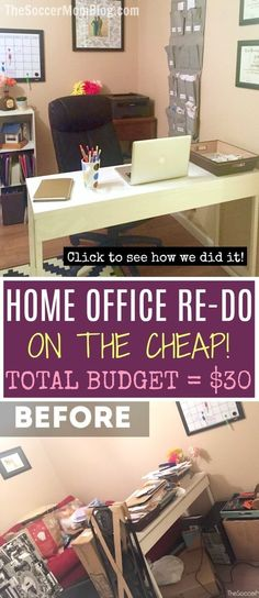 Must-see GENIUS home office organization hacks a total room makeover for under 30 How we tackled Must-see GENIUS home office organization hacks a total room makeover for under 30 How we tackled Dawna R Rizzo nbsp hellip Organisation Hacks, Small Office Organization, Office Storage, Room Organization, Refrigerator Organization, Organization Station, Organizing Ideas, Cheap Home Office, Home Office Space