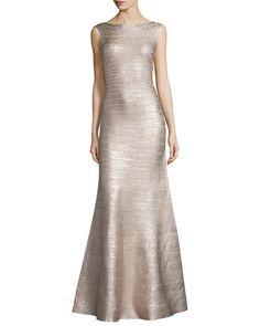 TAL1X Herve Leger Sleeveless Metallic Bandage Gown, Rose Gold