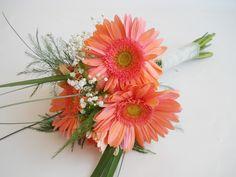 Coral Gerber Daisy bridesmaid's bouquet