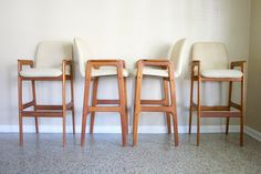 Set of 4 Vintage Danish Modern Teak Bar Stools by celebrated designer, Benny Linden. These bar stools exude the clean lines and perfect Dining Room Chair Cushions, Seat Cushions, My Furniture, Furniture Design, Danish Modern, Mid-century Modern, Mid Century Modern Armchair, Table Height, Scandinavian Furniture