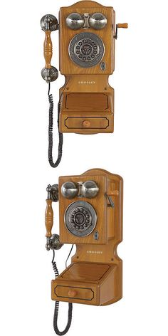 Corded Telephones: Crosley Classic Country Kitchen Corded Wall Telephone BUY IT NOW ONLY: $79.95