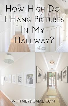 How High Do I Hang Pictures in My Hallway? One of the common mistakes people make when hanging pictures or art work is hanging it too high. You'll read a lot of advice that says to hang your pictures at Hanging Pictures On The Wall, Hallway Pictures, Hanging Photos, Hanging Artwork, Height To Hang Pictures, Picture Hanging Height, Picture Hanging Tips, Picture Arrangements, Photo Arrangement