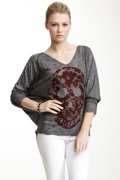 Coral Lace Skull V-Neck Dolman Tunic on HauteLook