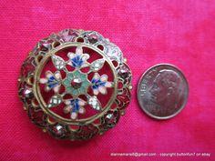 1800s Pierced Enamel Antique Button