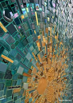 Public art in Dallas. Installation of VisionShift mosaic at Hall Arts by Sonia King, Mosaic Artist.