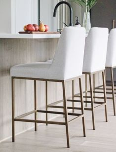 Modern but inviting counter stools sit pretty at Ottawa based interior design firm Leclair Decor's Cedarbreeze project. Cozy Living Rooms, My Living Room, Interior Design Living Room, Home And Living, Living Room Decor, Inset Cabinets, Kitchen Cupboards, Living Room Inspiration, Interior Inspiration