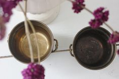 Pair of Brass Pots with Side Handles by PlaceMichel on Etsy