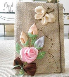 this post was discovered by Ribbon Embroidery Tutorial, Silk Ribbon Embroidery, Embroidery Stitches, Hand Embroidery, Embroidery Designs, Burlap Crafts, Diy And Crafts, Arts And Crafts, Fabric Book Covers
