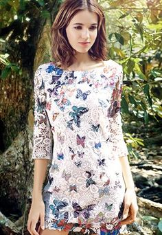 Butterfly printed Lace Dress
