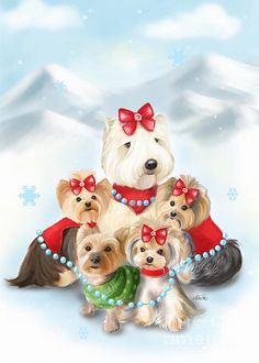 Santa Buddies   5 bestie buddies, Tater Tot the Wheaten Terrier, Millie LaRue, Willie Pancakes Graves, Tula and Fofa Cho, the Yorkies. Together for help rescue pups in need and make a better Christmas at the Pound. Art By Catia Cho ©