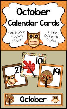 Number cards for your October calendar - Fits in your pocket chart - 3 different designs! Kindergarten Calendar, Classroom Calendar, Classroom Fun, Kindergarten Activities, Classroom Organization, October Calendar, Calendar Time, Owl Crafts Preschool, Preschool Ideas