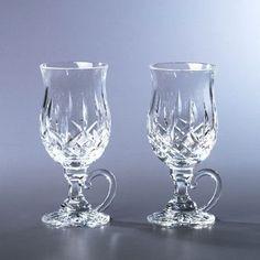 Vintage Set 6 Luminarc France Crystal Stemmed Irish Coffee Glasses