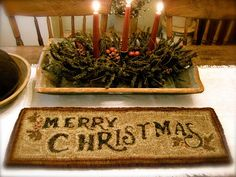 """Paper Rug Hooking Pattern""""Merry Christmas"""" Design by Cathy G~ Red House Wool Studio"""