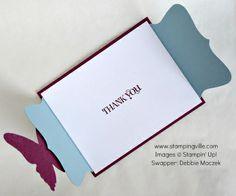 A fabulous card (open) - Top Note Fancy Fold Card with Butterflies!