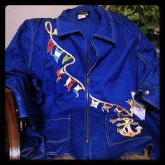 NWT SAILOR JACKET Bold blue denim-like sailor jacket with zip closure and two front pockets. NWT from Bob Mackie, never worn and in excellent condition! 100% cotton and 100% wow factor on the boat! Bob Mackie Jackets & Coats