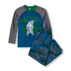 Boy's Long Sleeve 'Wild Dude' Raglan Top and Camo Print Pants PJ Set