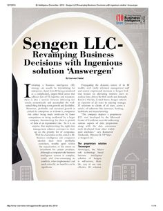 Sengen LLC Featured in CIO Review as one of the '20 Most Promising Business Intelligence Companies Business Intelligence Solutions, Management