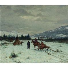 Artwork by Joseph Henry Sharp, MOVING CAMP, Made of oil on canvas kp