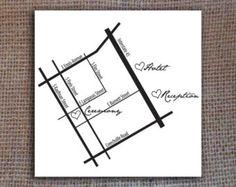 Custom Wedding Map with Hearts - Digital File