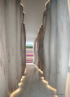 Cool idea for lighting a long hallway - light fixtures… Corridor Lighting, Entryway Lighting, Interior Lighting, Entryway Decor, Lighting Design, Lighting Ideas, Wall Lighting, Hotel Hallway, Hotel Corridor