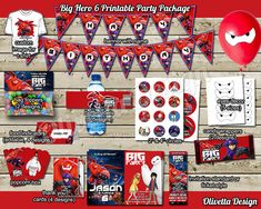 Big Hero 6 Birthday Party Package, Printable Party Kit Invitation Banner Food Tent Labels Thank you cards Candy Wrappers - Digital File